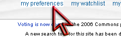 "User tabs after successful login. The arrow points to the ""preferences"" tab."