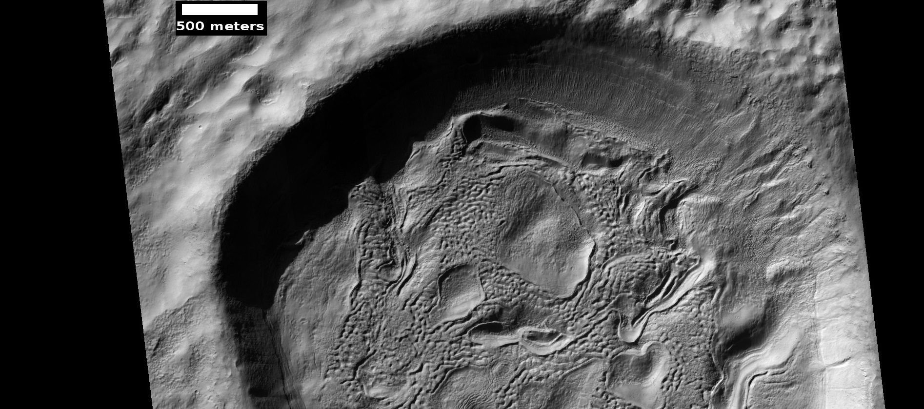 Crater floor showing brain terrain, as seen by HiRISE under HiWish program