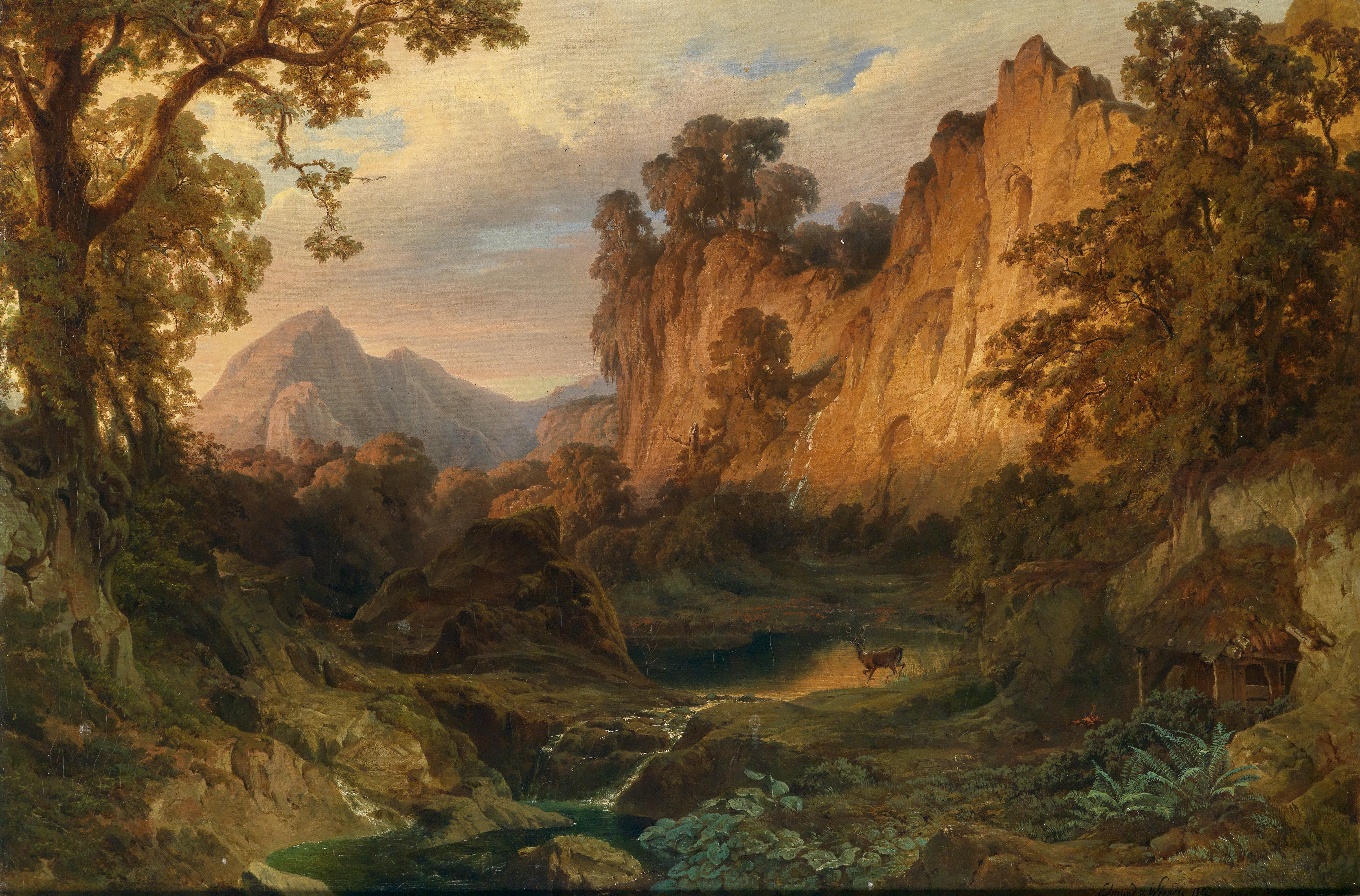 File:edmund von wörndle romantische landschaft im abendlicht 1859 ...