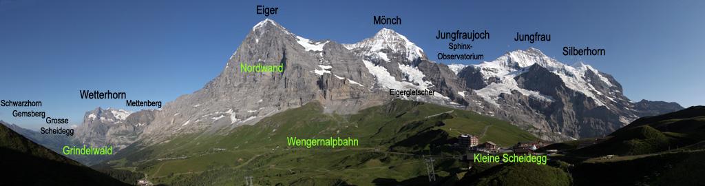 Вершины Эйгер, Мёнх и Юнгфрау. 180° панорама, вид со стороны перевала Кляйне-Шайдег в Бернских Альпах