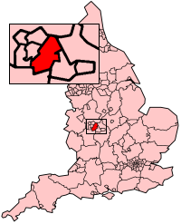 Birmingham shown in England
