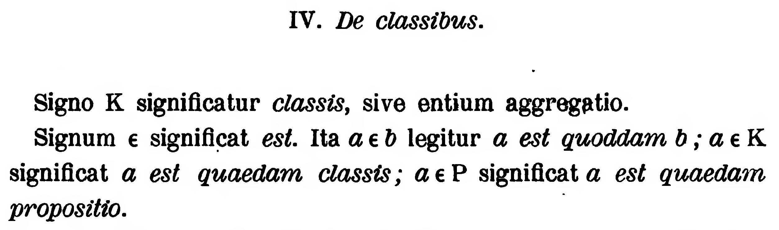 Textstelle mit der ersten Verwendung des Symbols ∈ {\displaystyle \in } \in .