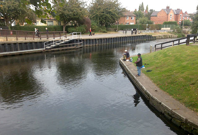 Fishing by Beeston Lock - geograph.org.uk - 1517585