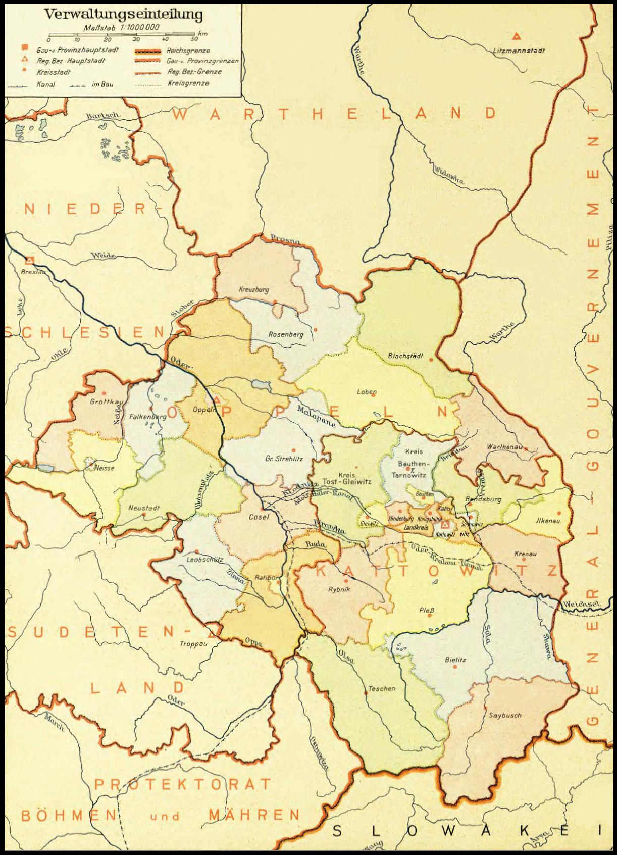 """Karte des """"Gaus Oberschlesien"""", 1943"""