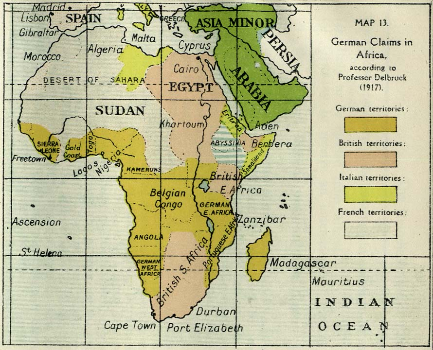 German claims in Africa (1917)