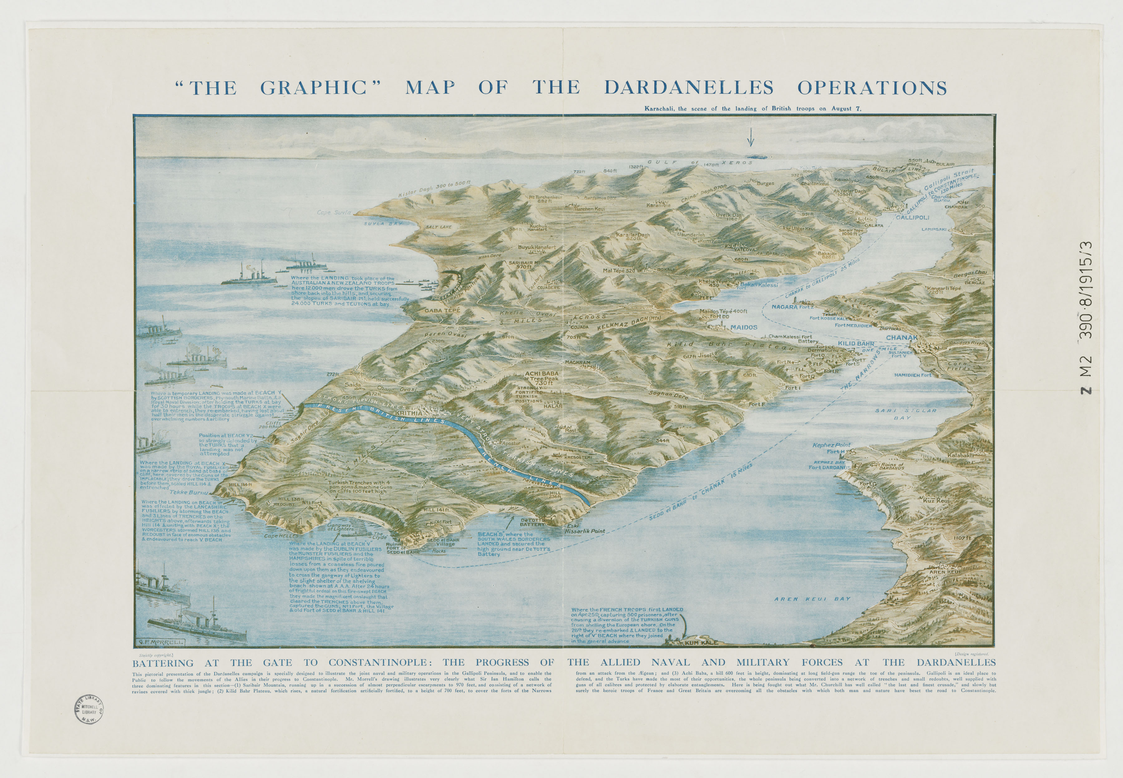 Map of the Dardanelles drawn by G.F. Morrell, 1915