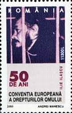 Ilie Ilașcu represented on a Romanian stamp about Human rights