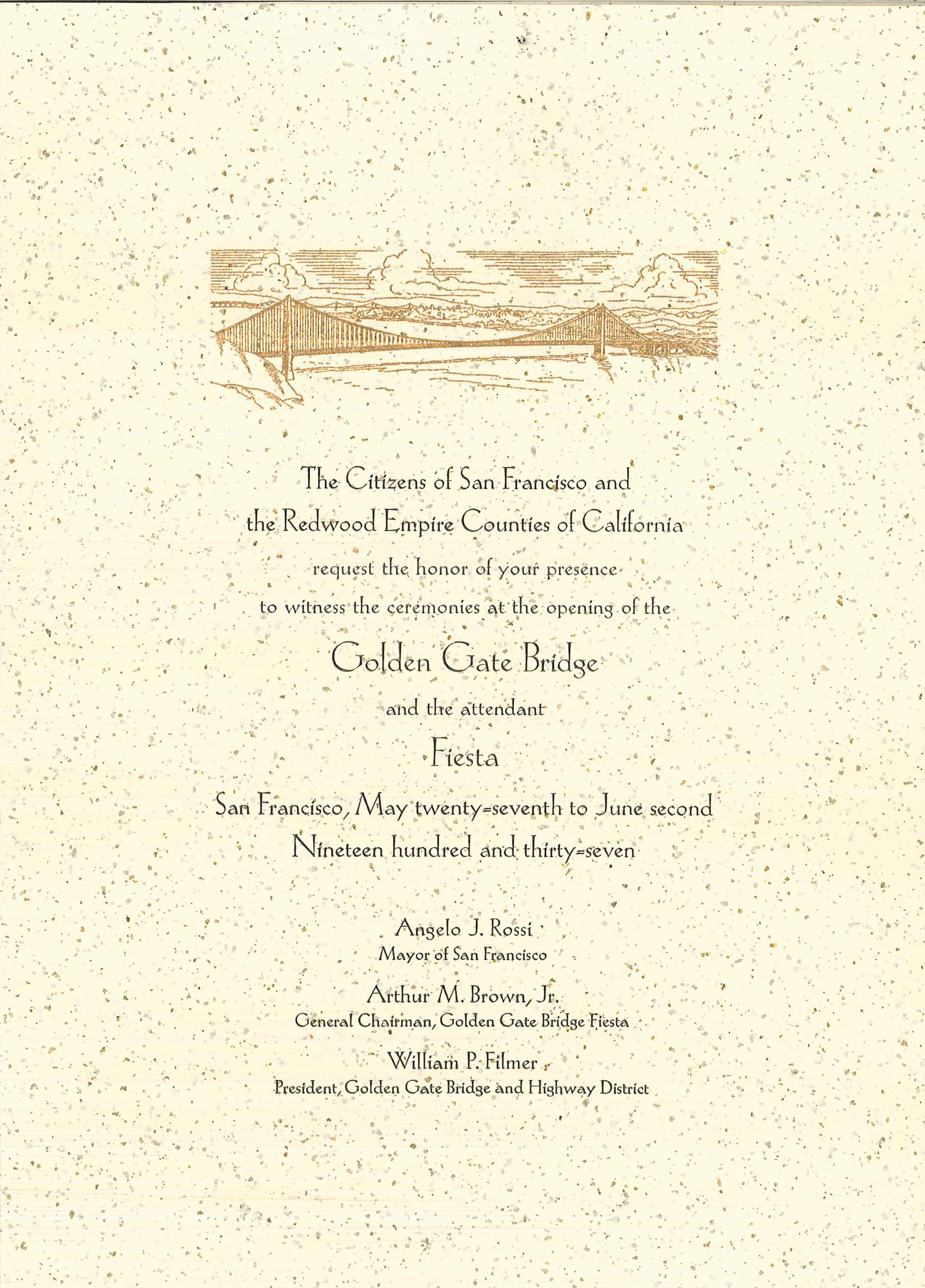 Sample invitation letter for new office opening ceremony military file invitation to golden gate bridge opening 1937 jpg sample invitation letter for new office opening ceremony stopboris Images