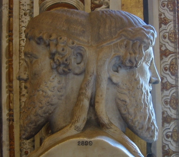 bust of two faced man