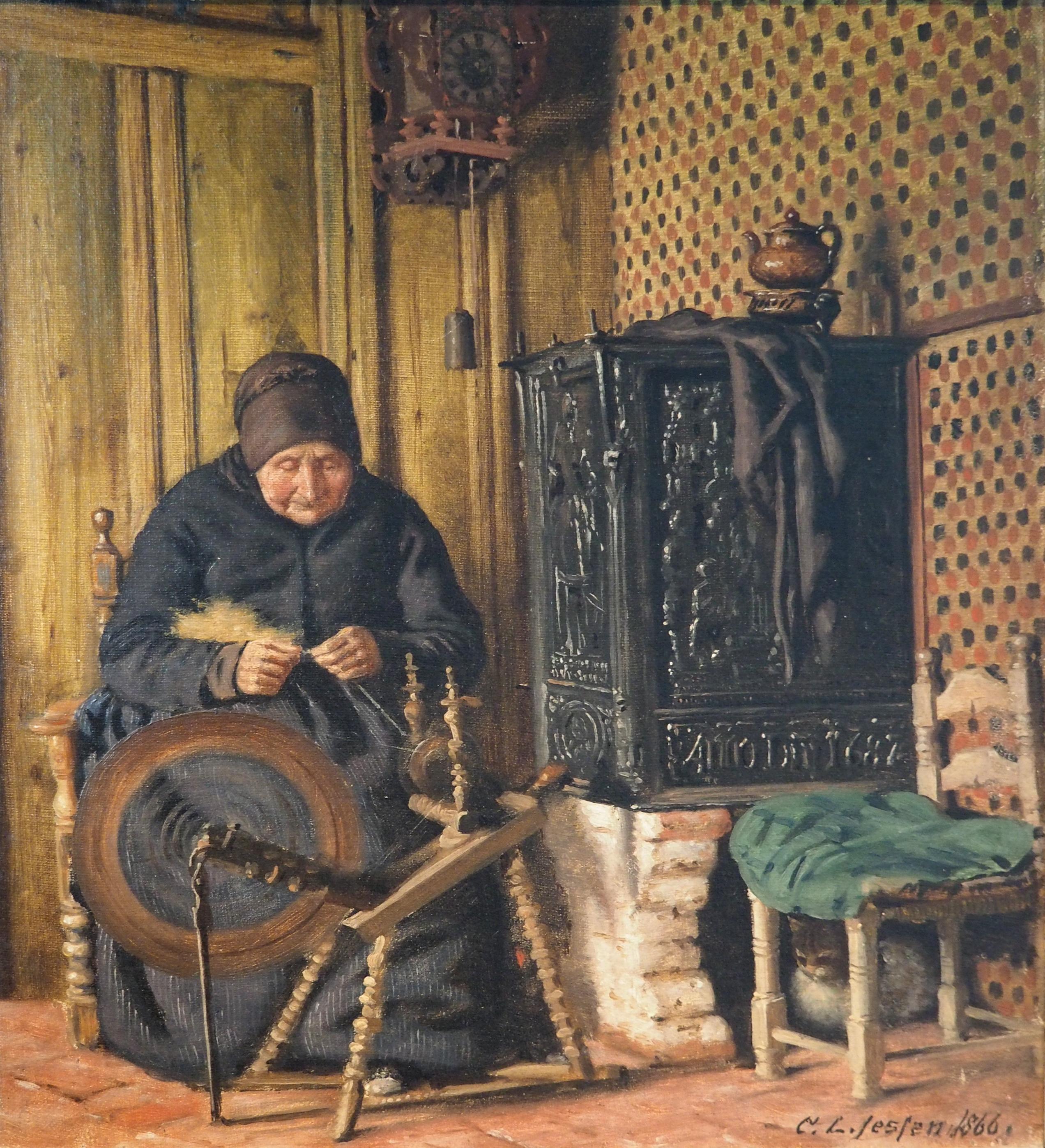 https://upload.wikimedia.org/wikipedia/commons/f/f4/Jessen_Carl_Ludwig_Alte_Frau_90_Spinnrad_Museumsberg_Flensburg_Heinrich-Sauermann-Haus.JPG