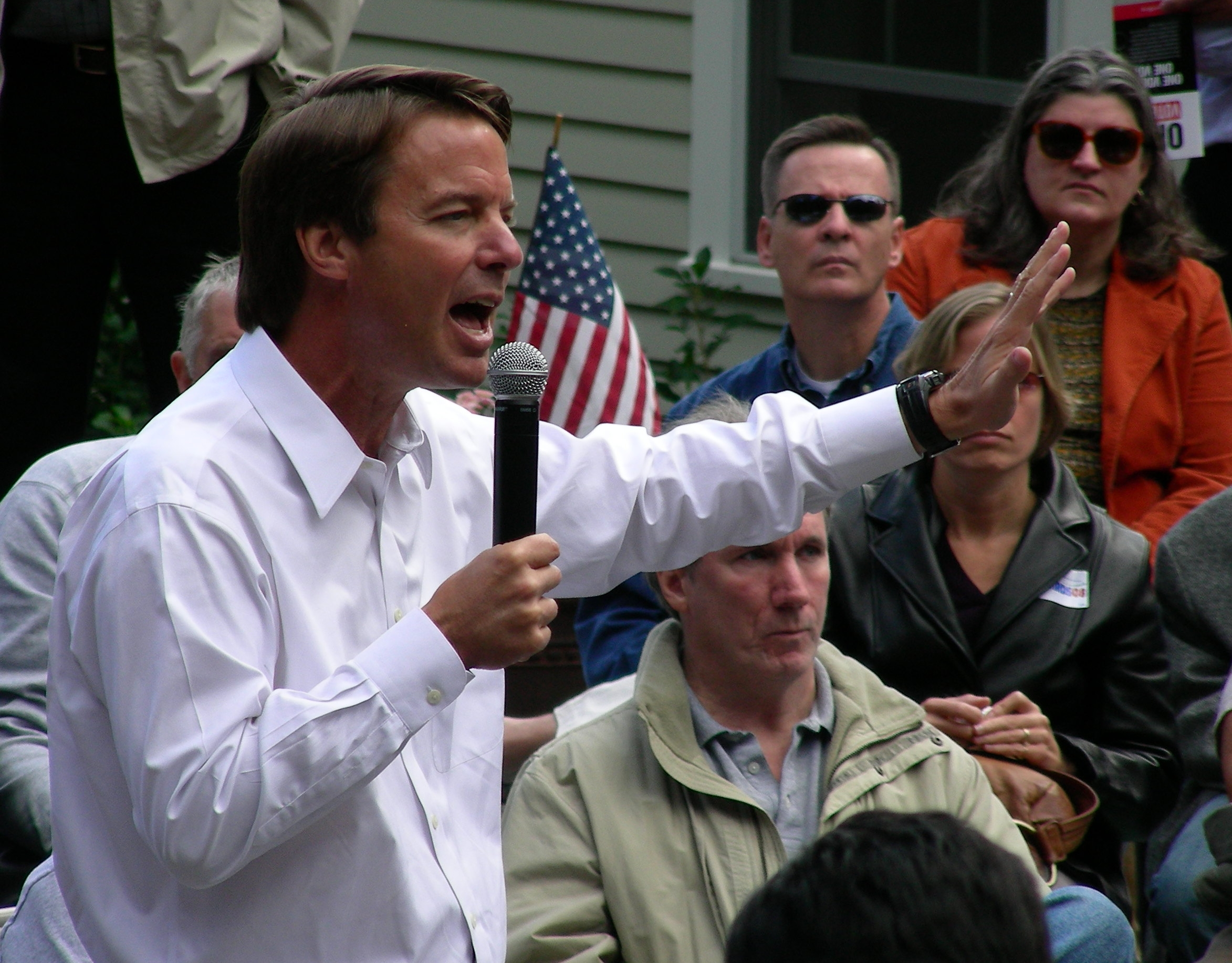 John Edwards greets a crowd in New Hampshire.