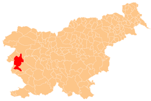 Location of Nova Gorica in Slovenia