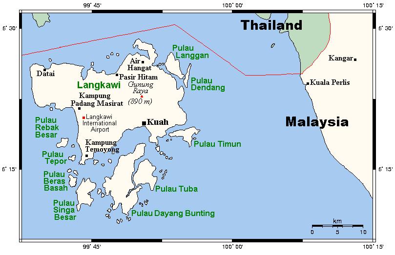 Mapa de Langkawi (© Kelisi, Wikimedia Commons)
