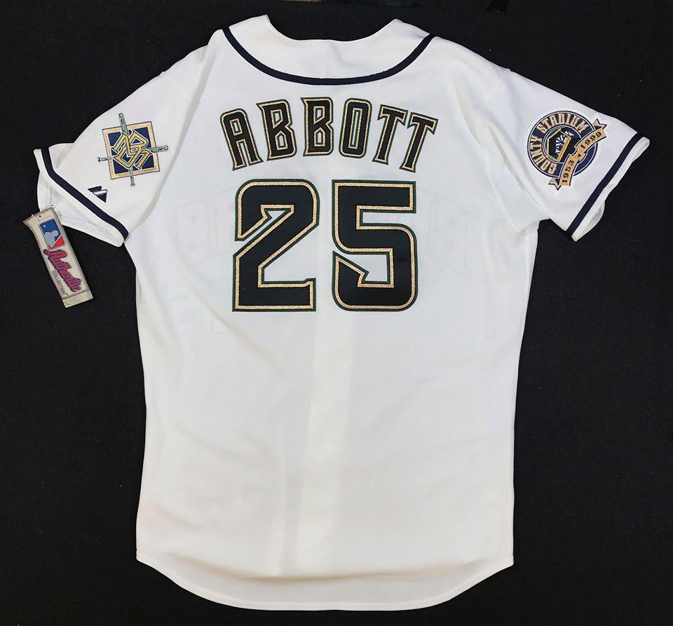 1999 Milwaukee Brewers #25 Jim Abbott home jersey Wikipediaより