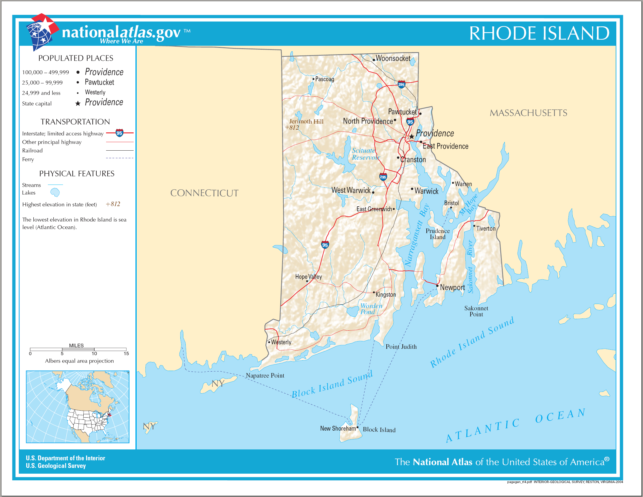 Download this Description Map Rhode Island picture