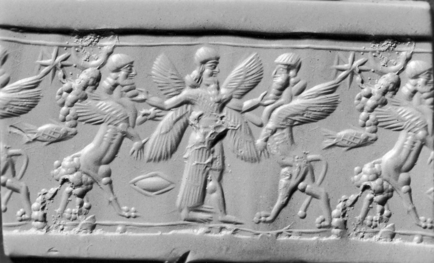 File:Mesopotamian - Cylinder Seal with Genius and Human ...