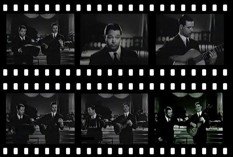 """Edmundo Zaldívar junto con Aníbal Troilo interpretanto """"Palomita blanca"""" en la película Vida nocturna (1955)."""