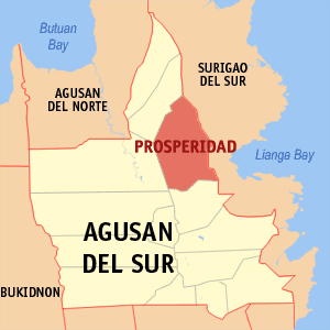 Map of Agusan del Sur showing the location of Prosperidad