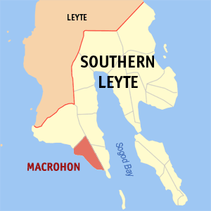 Map of Southern Leyte showing the location of Macrohon