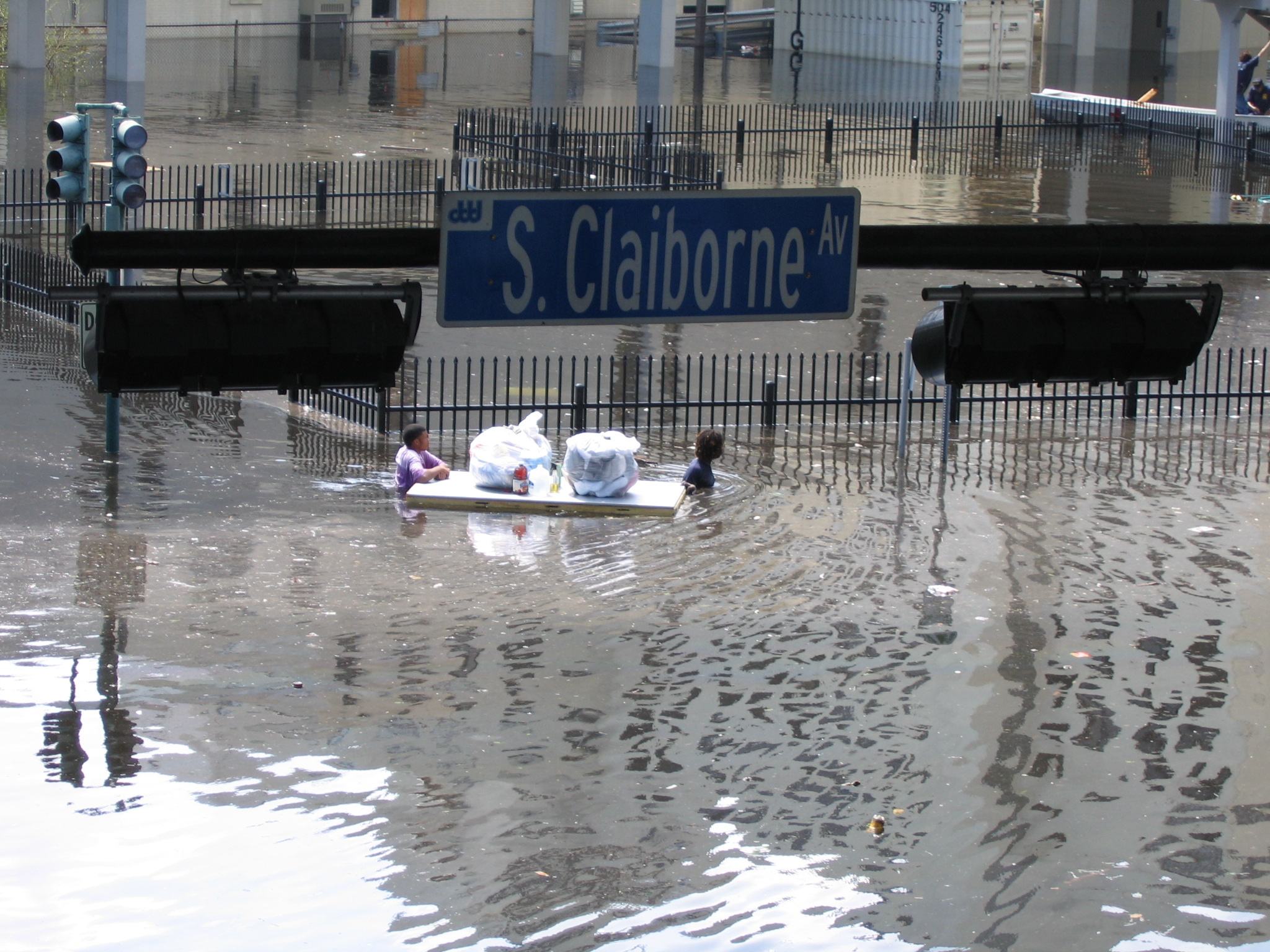 Escaping Flood Waters, August 31, 2005