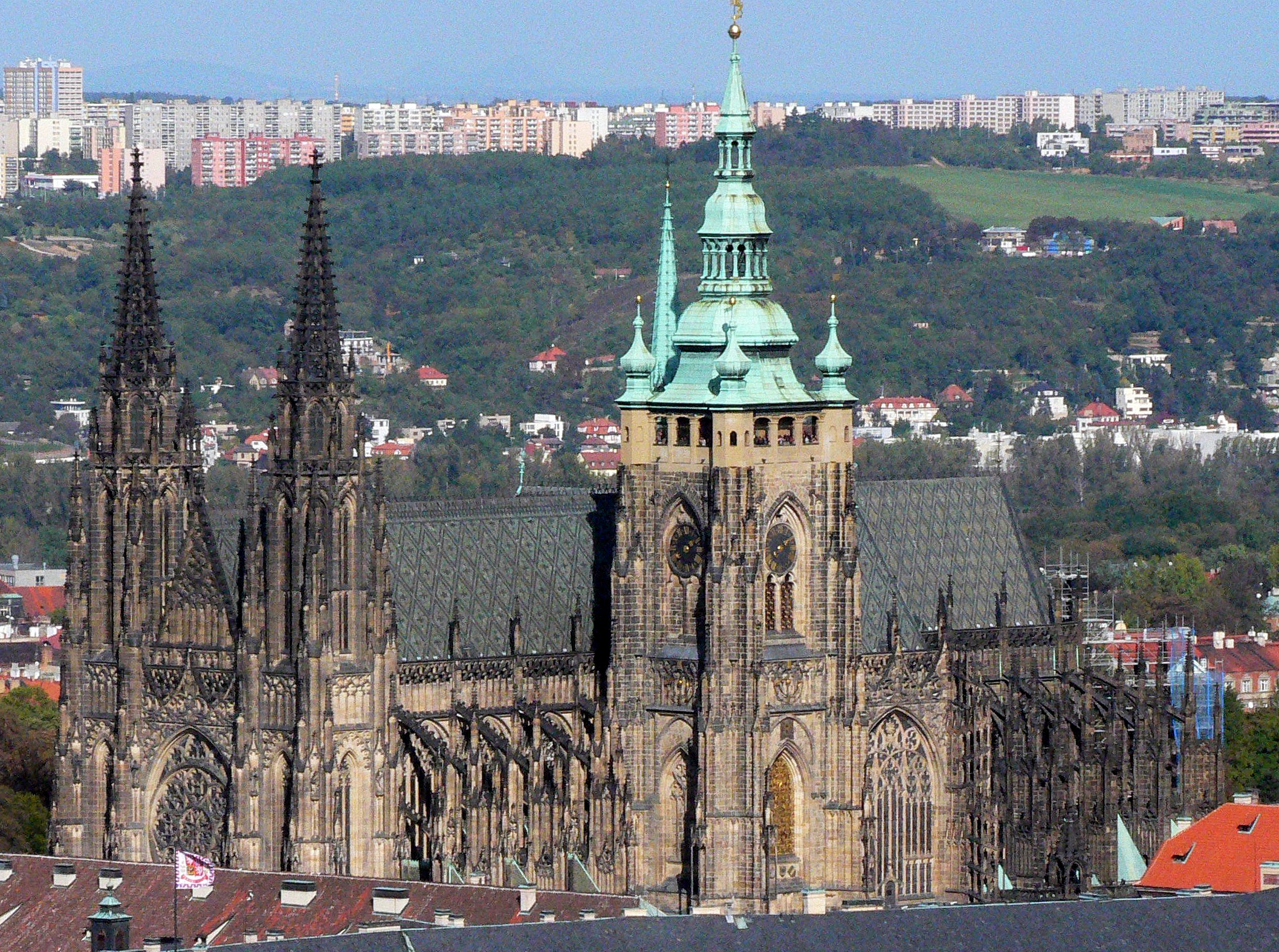 The Gothic-Neo-Gothic St. Vitus cathedral within the Prague castle, Praha. This is a view from Petrin hill with optical zoom.