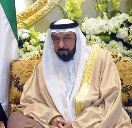 The 70-yaşında, 170 cm uzunluğunda Khalifa bin Zayed Al-Nahyan tarihli 2018 photo