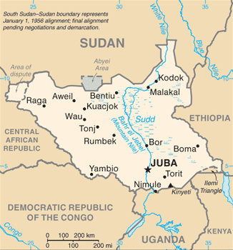 This CIA map uses the provincial borders that existed at the time Sudan gained independence in 1956. In 1960, small sections were transferred to northerly provinces. The Comprehensive Peace Agreement of 2005 ending the second Sudanese civil war provided that the border between southern and northern Sudan would be restored to its 1956 state.