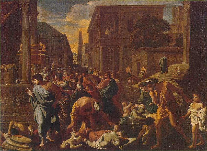 The painting by Poussin depicts a chaos of mourning citizens of some city modelled on classical antiquity, with the realistically-rendered corpses of plague victims in the centre foreground