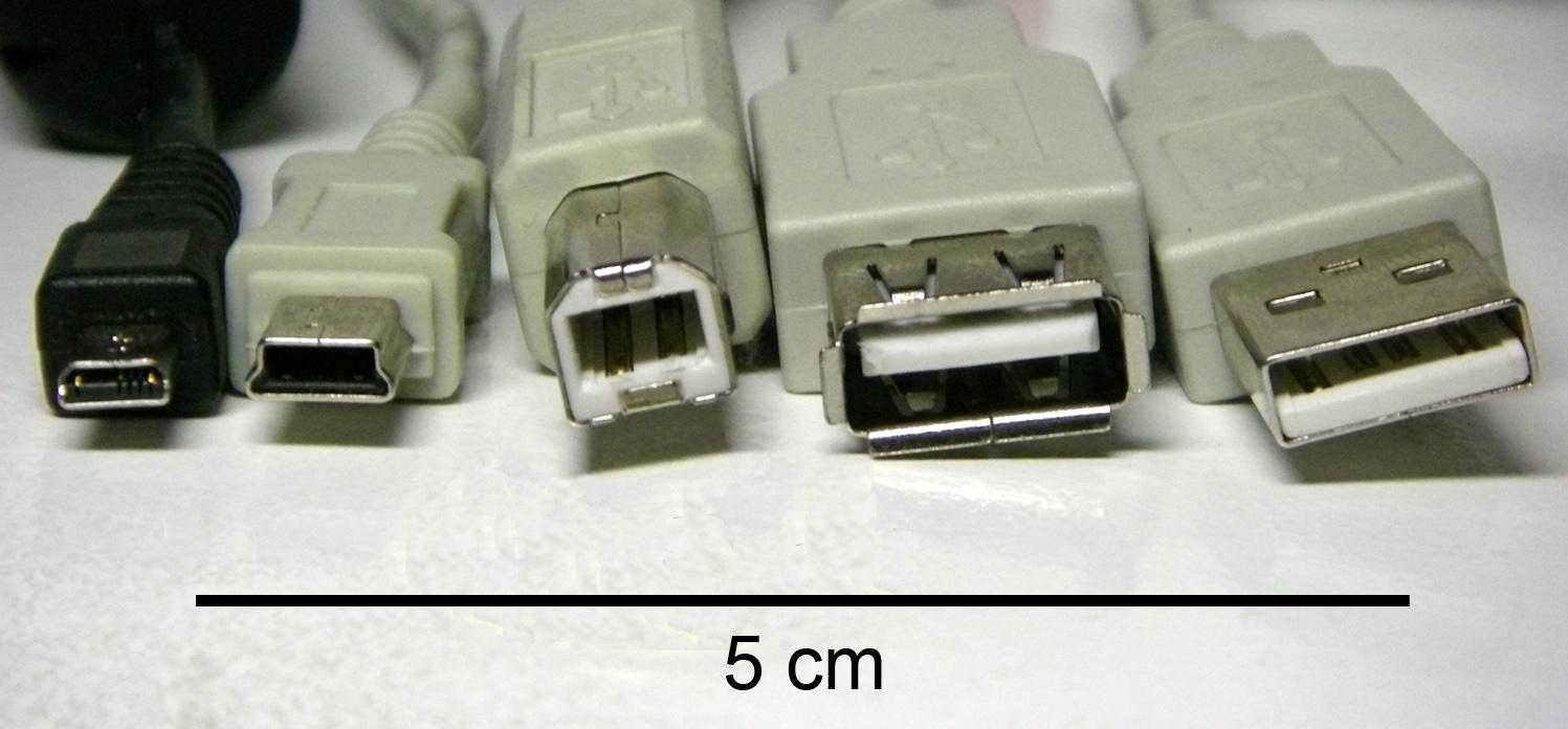"""Разъемы USB (слева направо): micro-USB, mini-USB, USB тип B, розетка ( """"мама """") USB тип А, USB тип A."""