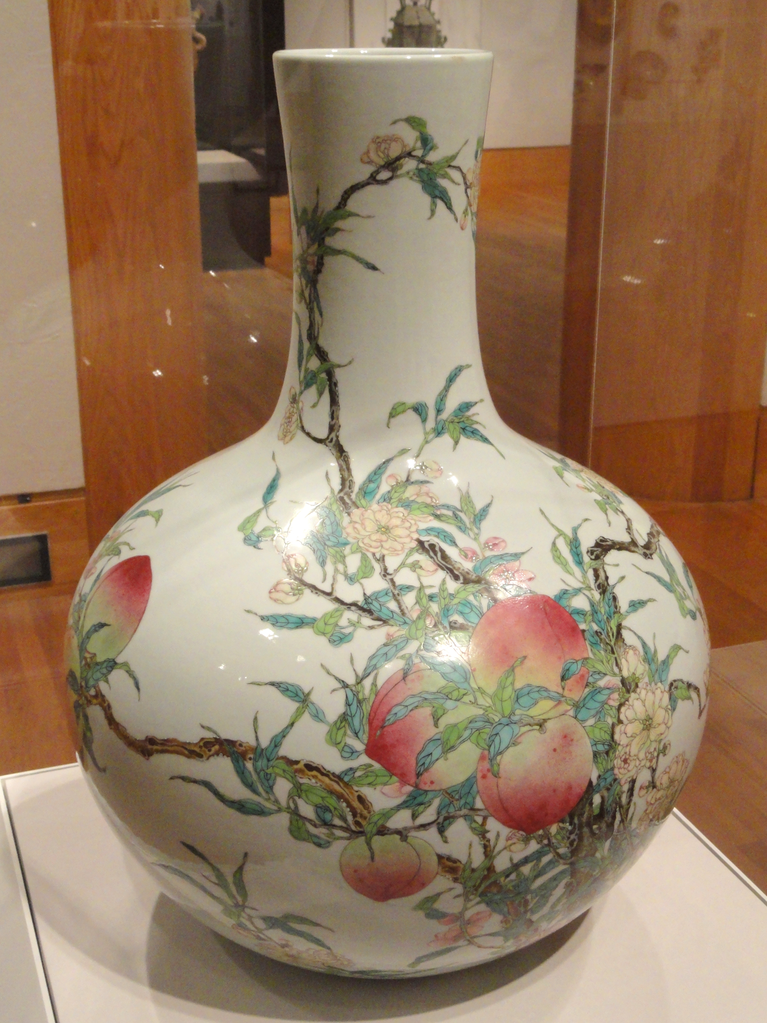 File Vase With Decoration Of Blossoming And Fruiting Beach Branches 1736 1795 Qianlong Period