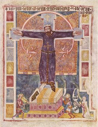 Veggmaleri av Wilgefortis i Weissenburg i Bayern fra sent 1300-tall