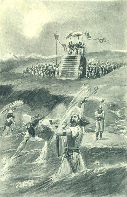 "Xerxes attending the lashing and ""chaining"" of the Hellespont (Illustration from 1909)"