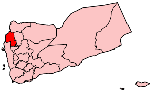 Map o Yemen showin Hajjah govrenorate.