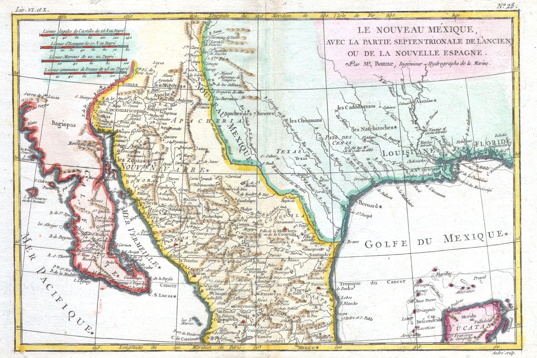 File1780 Bonne Map Of Texas Louisiana  New Mexico