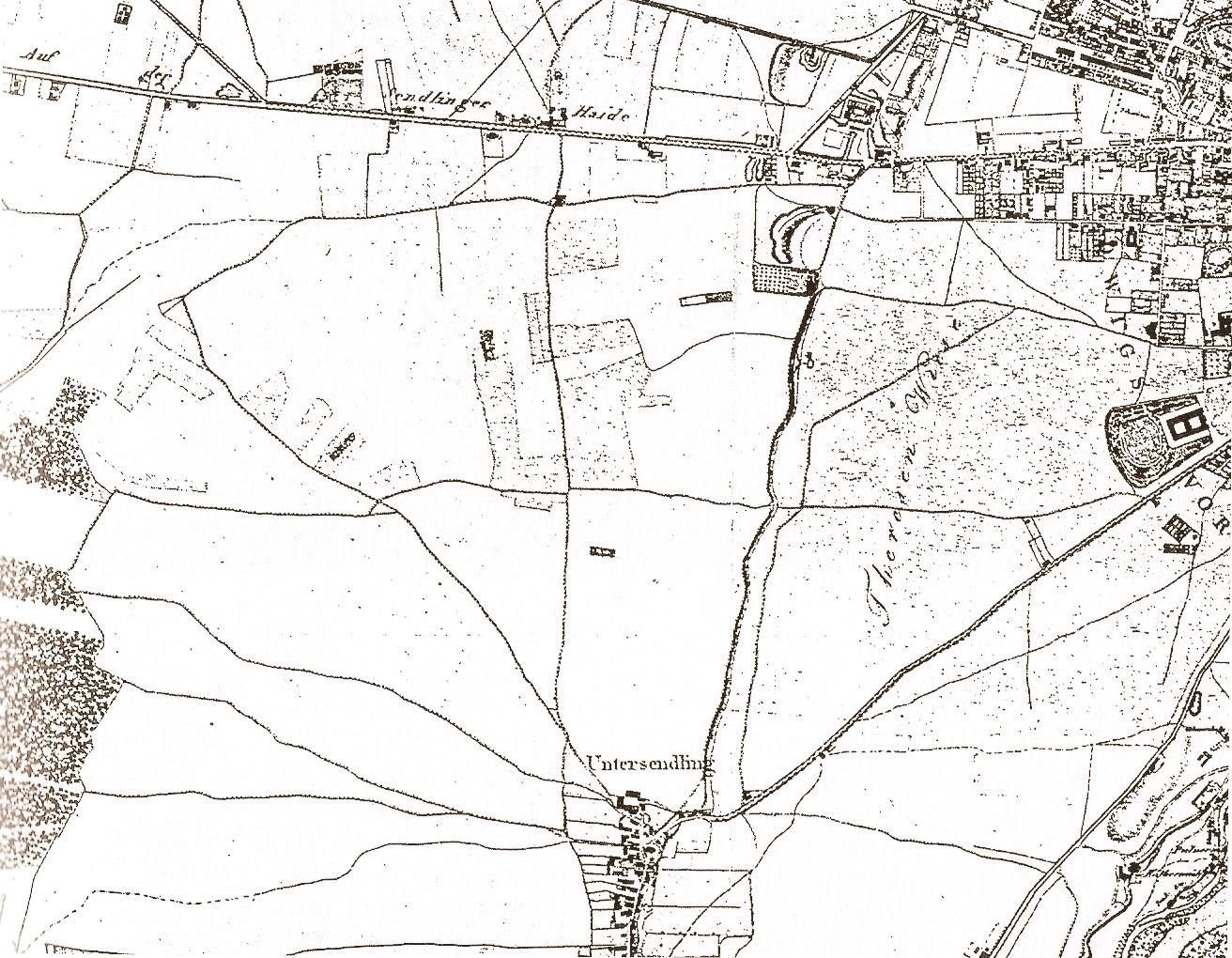 Karte Untersendling Theresienwiese 1812