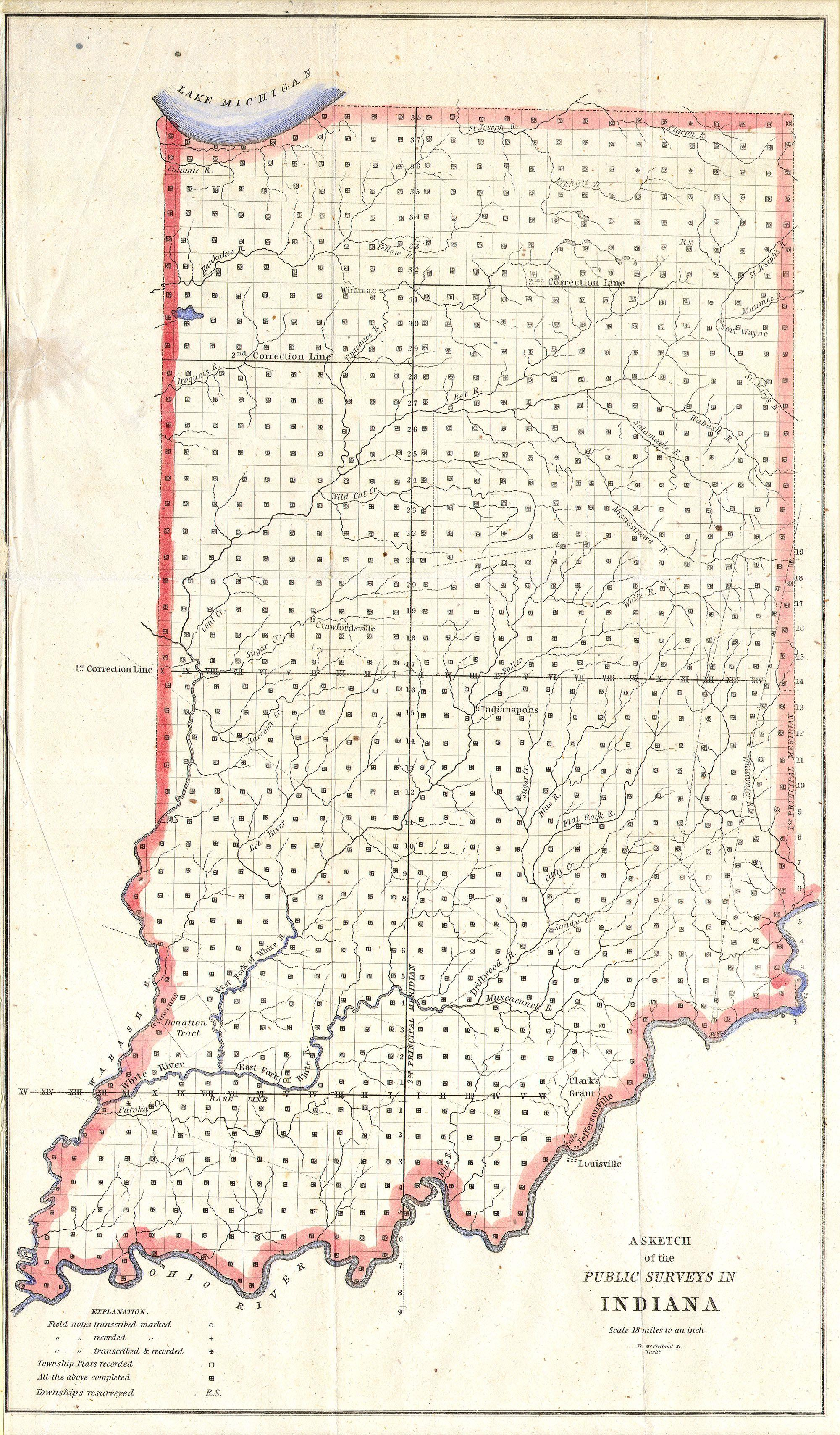 File:1850 Public Survey Map of Indiana - Geographicus - IN-ls-1850 ...