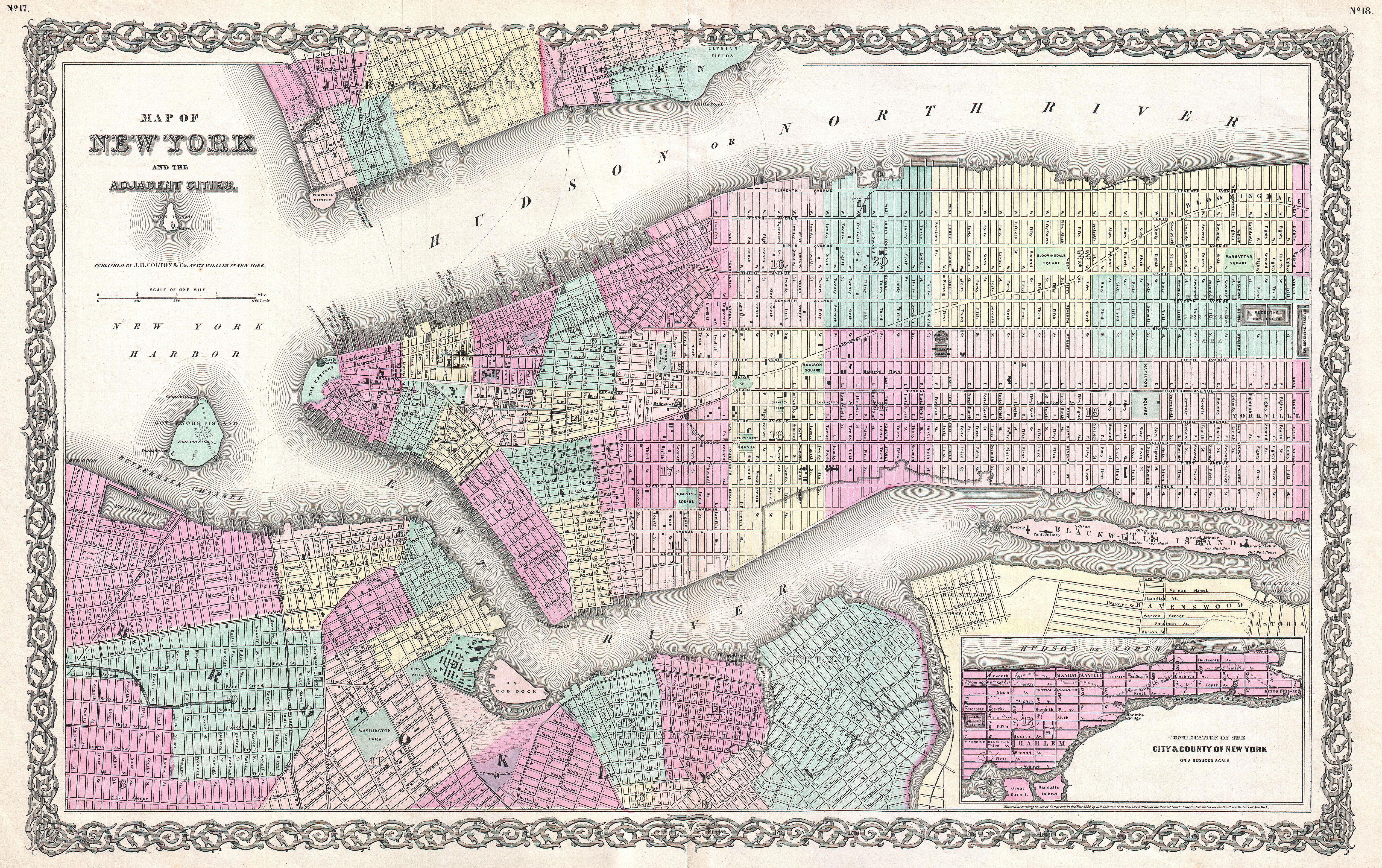 file1855 colton map of new york city manhattan brooklyn hoboken
