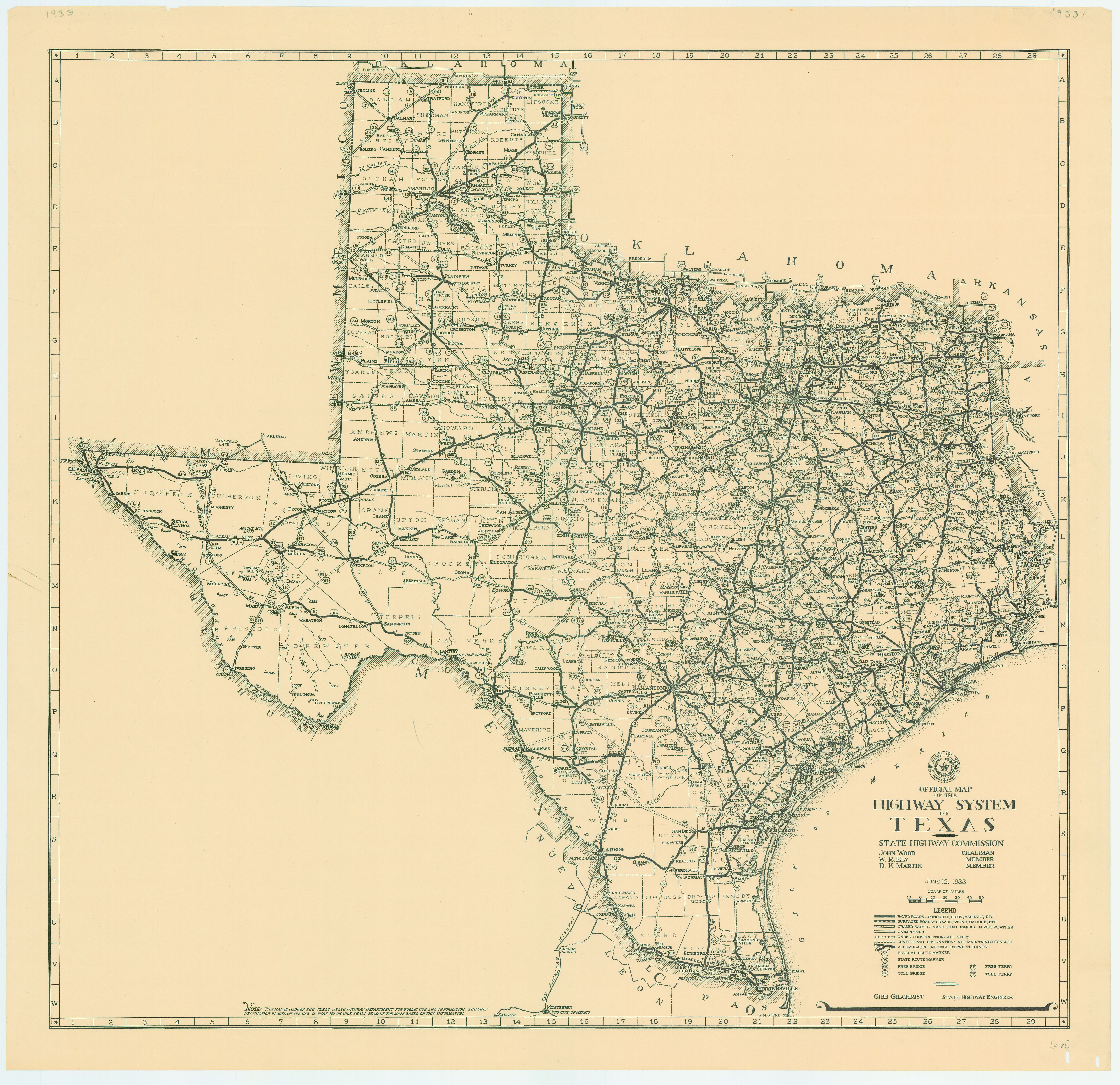 Free Map Of Texas.File 1933 Texas State Highway Map Jpg Wikimedia Commons