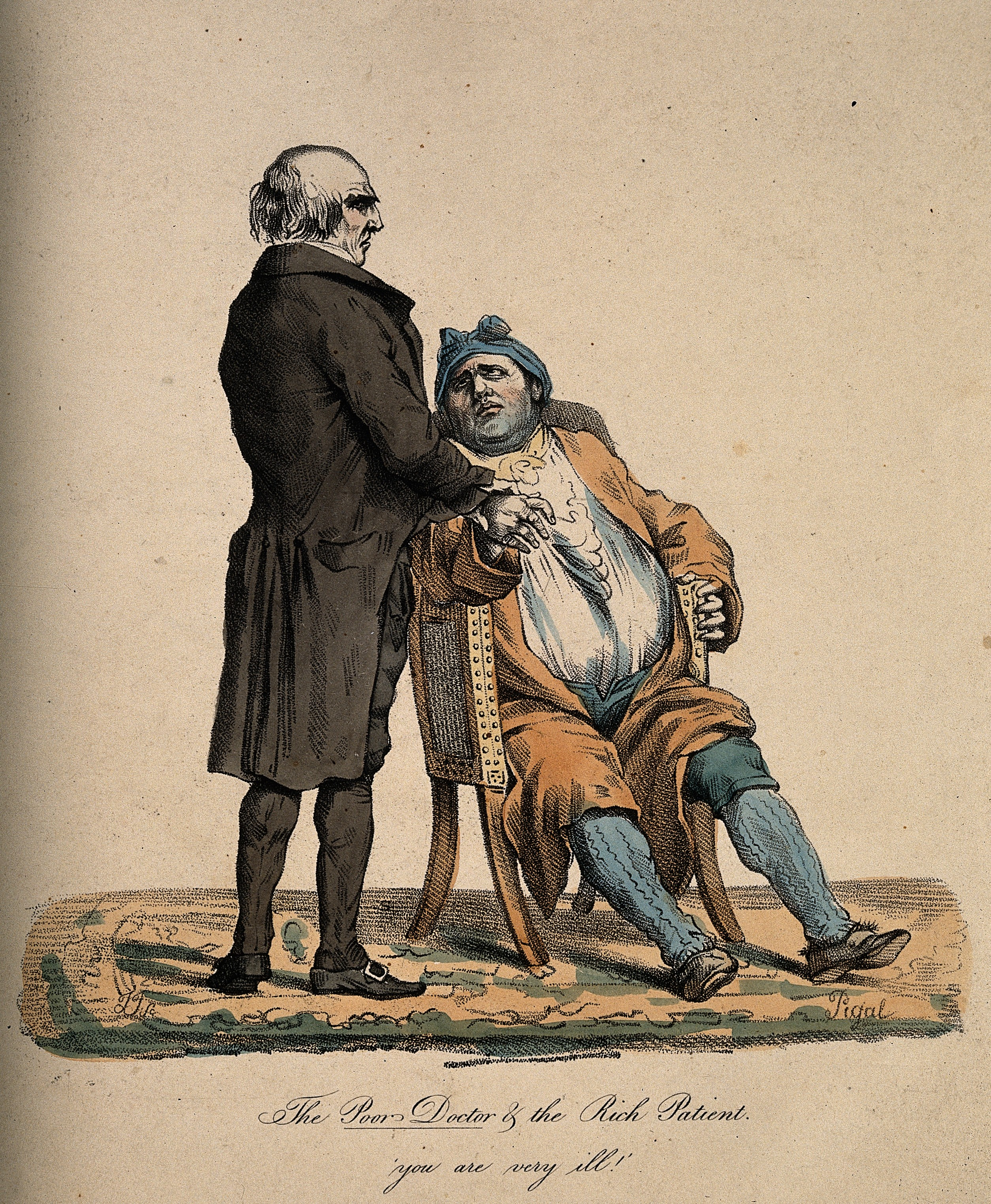 A poor doctor takes the pulse of a rich, corpulent patient; Wellcome V0011750.jpg