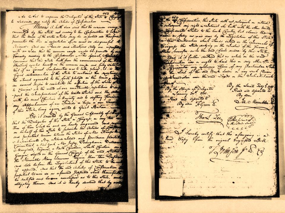 The Act of the Maryland legislature to ratify the Articles of Confederation on February 2, 1781