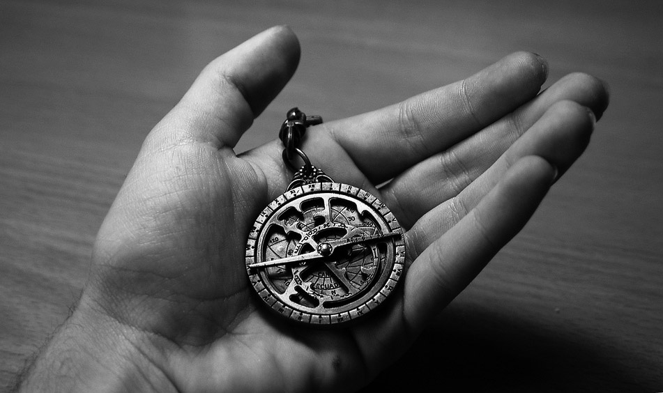 Astrolabe facsimile on a key chain.