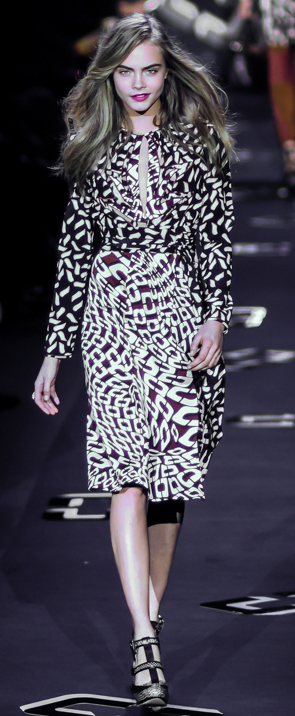 Diane von Furstenberg Fall Winter 2013, worn by Cara Delevingne