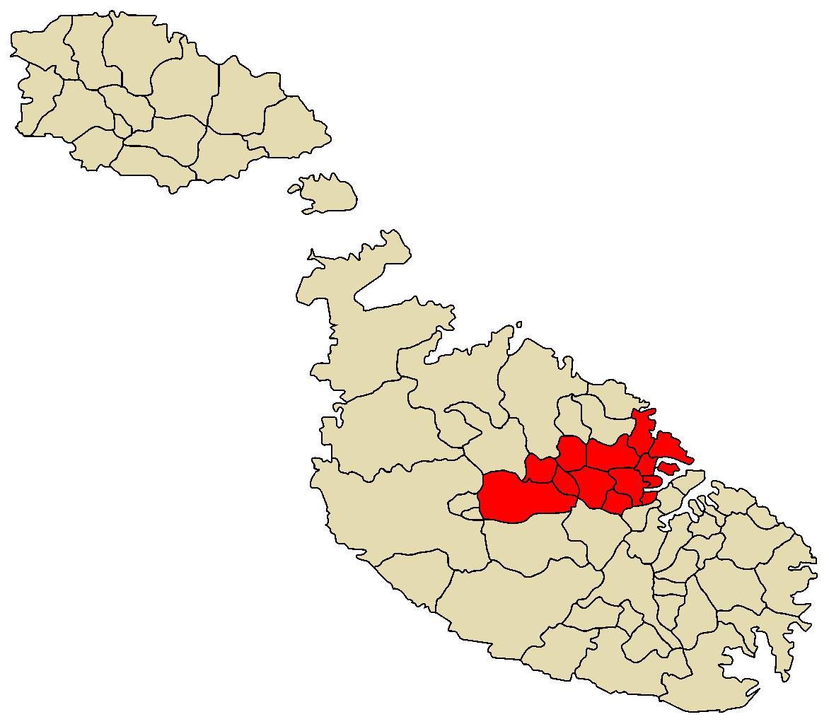 Central Region Malta Wikipedia - Malta map
