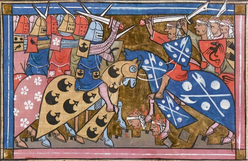 Medieval illustration of a battle during the Second Crusade