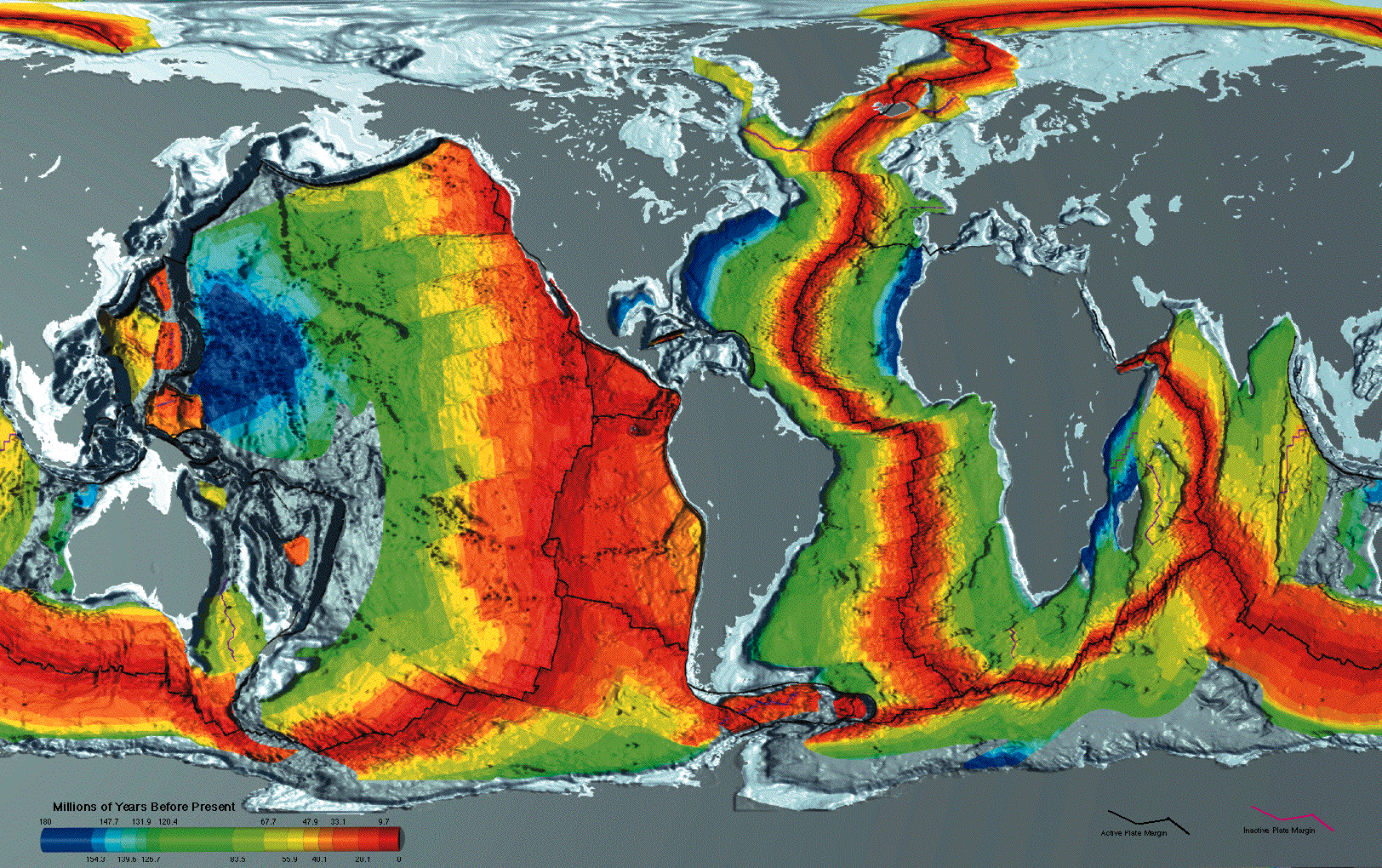 Mid ocean ridge wikipedia age of oceanic crust the red is most recent and blue is the oldest gumiabroncs Images