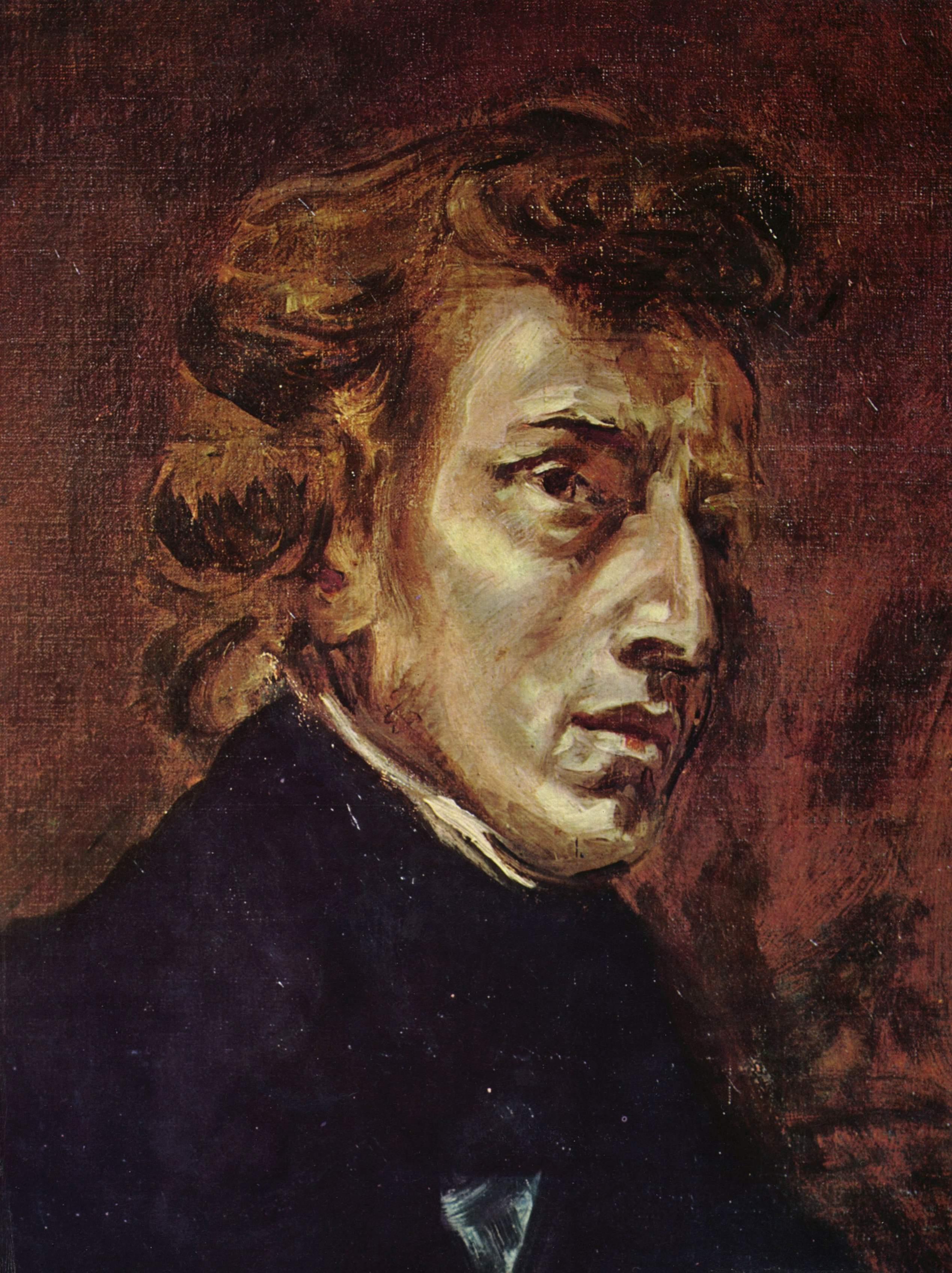 <em>Frédéric Chopin</em>, retrato (inacabado, de 1838) por Eugène Delacroix.