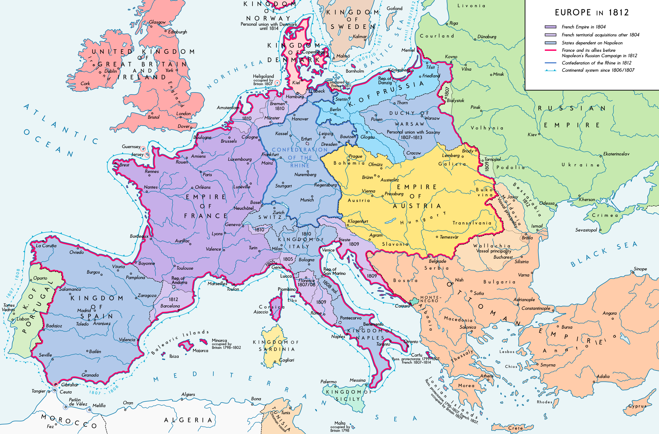 Map Of Napoleonic Europe 1812 File:Europe 1812 map en.png   Wikimedia Commons Map Of Napoleonic Europe 1812