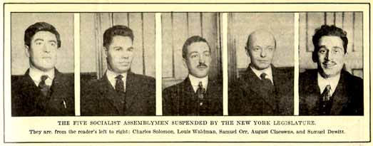 The five Socialist Assemblymen suspended by the New York Legislature in January 1920