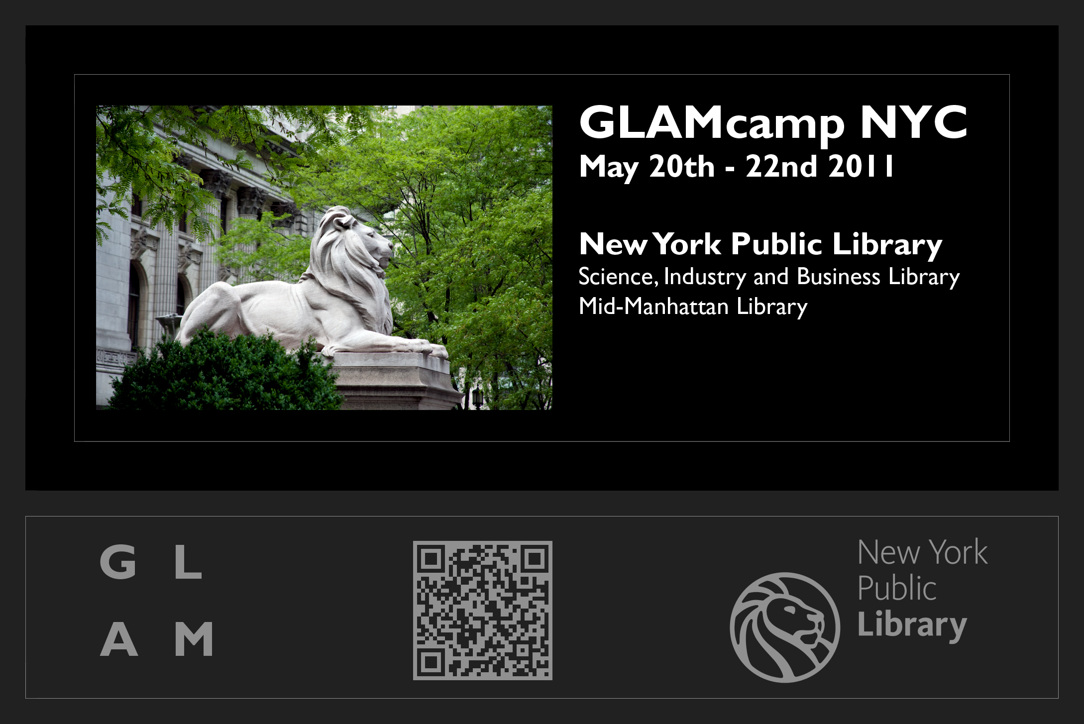 A wallpaper-type image advertising GLAMcamp NYC, made by Peter Weis.