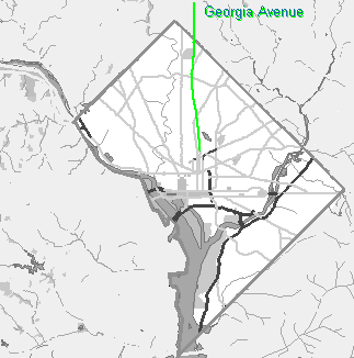 Small grayscale map of Washington DC showing Georgia Avenue